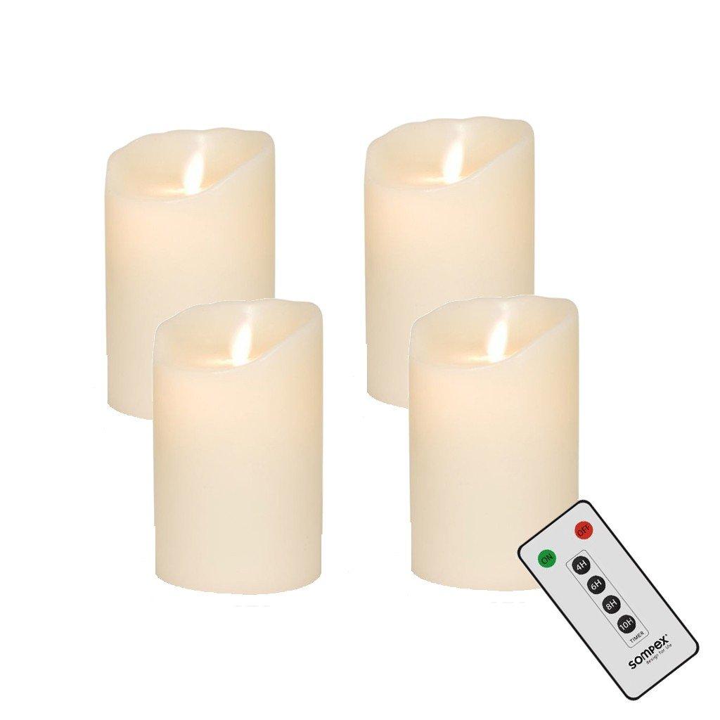 3er Set Sompex Flame LED Echtwachs Kerzen elfenbein 10//12//18cm 35129 35130 35131