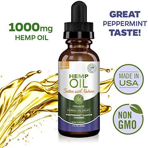 Hemp Oil 1000mg Helps with Pain Relief - Anti Anxiety, Stress Support, Inflammation, Sleep Aid, Nausea, Depression - MCT Oil with Omega 3,6, 9 Fatty Acids - Natural Anti-Inflammatory - Peppermint