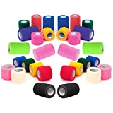 """2"""" Vet Tape Rap Bulk, Self Adherent Wrap Tape, Self Adhering Stick Bandage, Self Grip Roll - Black, Blue, Brown, Fuchsia, Hunter Green, Neon Green, Neon Pink, Purple, Red, Teal, White, or Assorted Colors (2"""" inches Wide x 15' Feet Long) - (6 Rolls, 12 Rolls, 18 Rolls, or 24 Rolls)"""