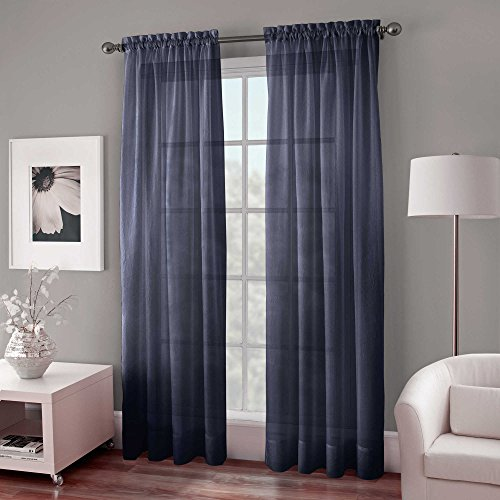 - Crushed Voile Sheer 95 Inch Length Window Curtain Panel in Indigo Blue