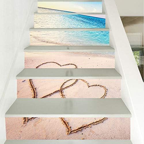 YFXGSTLI Surf Rolling Staircase Estilo Nórdico Escalera Etiqueta Escaleras Elevadores Decoración Azulejos Decoración DIY Home Mural 6 Unids Set 3D: Amazon.es: Hogar