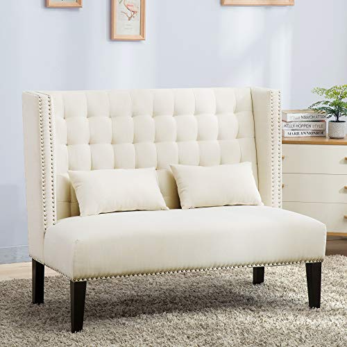 Bella E. 4765421 Winged Tufted Settee Bench with Pillows, Ivory by Bella E. (Image #2)