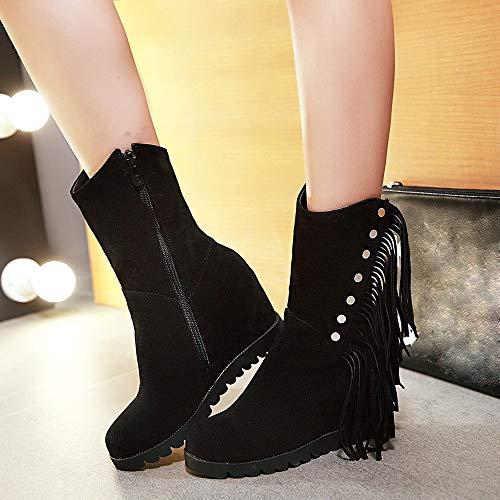 Negro Cremallera De Tubo Punta Borla Botas Mujeres Suede Logobeing Nieve Medio Cuñas Zapatos Botines Redonda wxPH6BzgqY