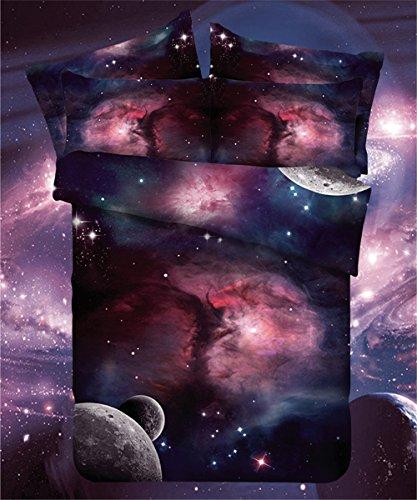 LELVA Galaxy Bedding Set Galaxy Duvet Cover Set Kids Bedding for Boys and Girls Teens Bedding Full Queen (Teen Girl Twin Size Bedding)