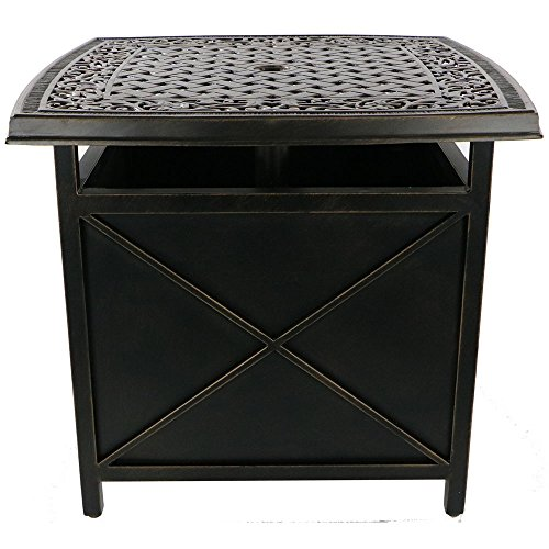 Envelor Hanover Traditions Outdoor Patio Furniture Umbrella Side Table Stand with A Cast Tabletop and Umbrella Hole
