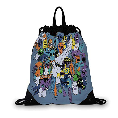 Indie Nice Drawstring Bag,Group of Funky Monsters Society Different Expressions Abstract Groovy Doodle Style Decorative For hiking,7.4