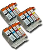 12 Chipped Compatible Canon PGI-5 & CLI-8 Ink Cartridges for Canon Pixma MX700 Printer