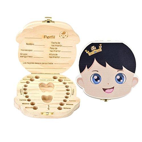 (Mogoko Cute Print Baby Tooth Box, Wooden Milk Teeth Storage Case Lost Tooth Organizer for Boy (Spanish,)