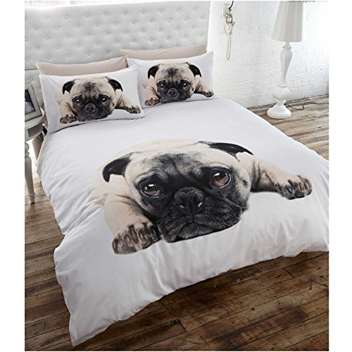 Duvet Cover & P/case Bedding Bed Set White Pug Dog