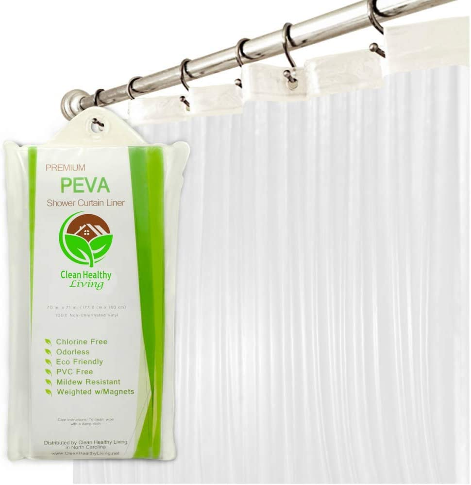 Clean Healthy Living Premium PEVA Clear Shower Curtain Liner with Magnets & Suction Cups - 70 X 71 in. Long