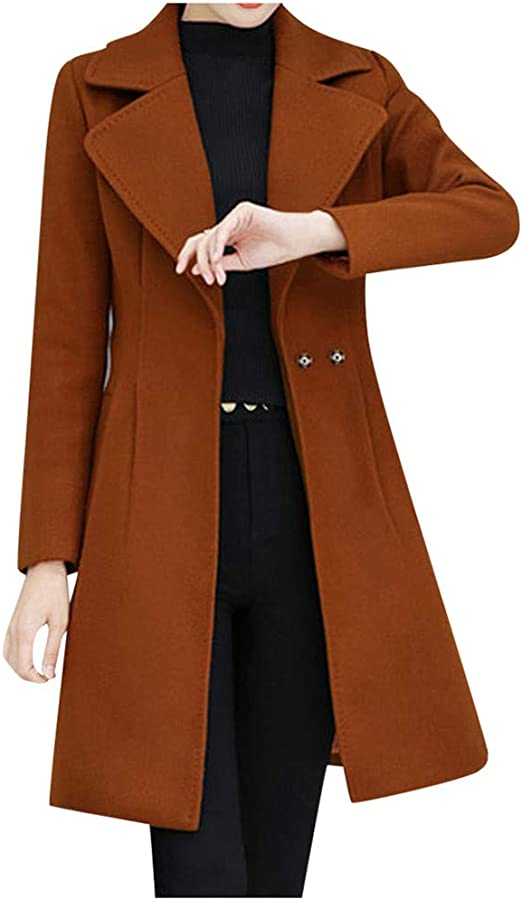 OMZIN Ladies Long Cardigan Wide Lapel Collar Loose Trench Coat Red,XL