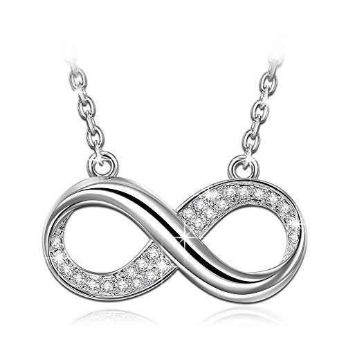 SIMPLE AND ELEGANT SILVER PLATED SWAROVSKI CRYSTALS INFINITY NECKLACE