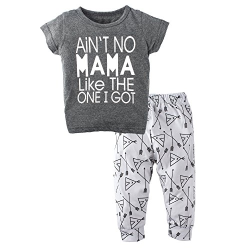 BIG ELEPHANT Unisex Baby 2 Pieces Graphic Short Sleeve Shirt Pants Set, Mama, 18-24 Months