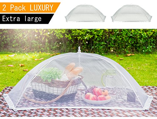 (2 Pack) Luxury Large Food Cover Tent | 100% Organza Net Highly Durable and Nontoxic | 2 Set of Extra Large Picnic Food Cover Mesh | Perfect Giant Outdoor Food (Food Net)