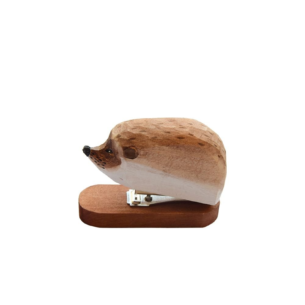 Jia Hu 1Pc Wood Carving Animal Mini Stapler 12 Sheet Capacity One Finger Spring Powered Staplers for Office and School Hedgehog
