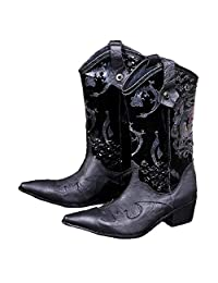 US Size 5-12 Fashion Black Dragon Genuine Leather Mens Dress Tall Boots Shoes