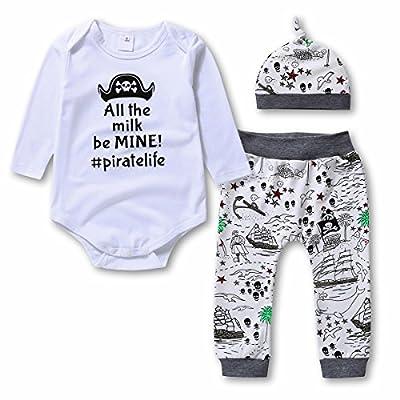 Baby Boys Girls 3 Pcs Bodysuits & Pants & Cap Clothes Set - Infant Outfit/Pajama