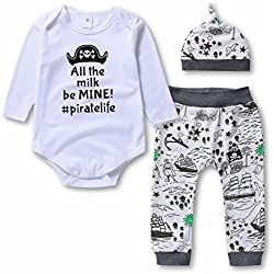 Baby Boys Pirate 3 Piece Bodysuits & Pants & Cap Clothes Set - Infant Outfit/Pajama, White, (12-18 Month)