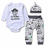 Baby Boys Girls 3 Pcs Bodysuits & Pants & Cap Clothes Set - Infant Outfit/Pajama, White, 80(6-12 Month)