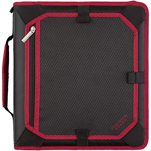 Five Star 2 Inch Zipper Binder, 3 Ring Binder, Expansion Panel, Durable, Red/Black (29052CE8)