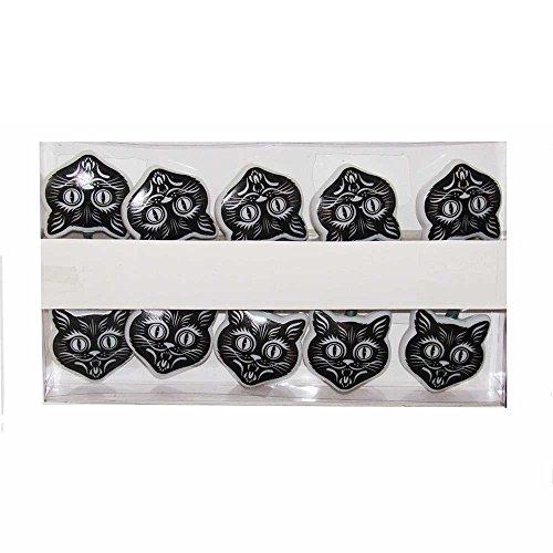 Kurt Adler 10 Orange Flicker LED Black Cat