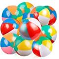"""Coogam Inflatable Beach Ball 12 Inches Classic Rainbow Color Birthday Pool Party Favors Summer Water Toy Fun Play Game for Boys Girls 12"""" (10 PCS)"""