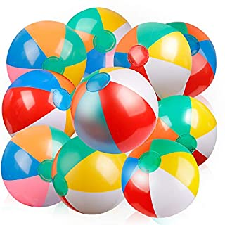 Coogam Inflatable Beach Ball Classic Rainbow Color Birthday Pool Party Favors Summer Water Toy Fun Play Beachball Game for Kid Boys Girls 8 to 12 Inches from Inflated to Deflated (10 PCS)