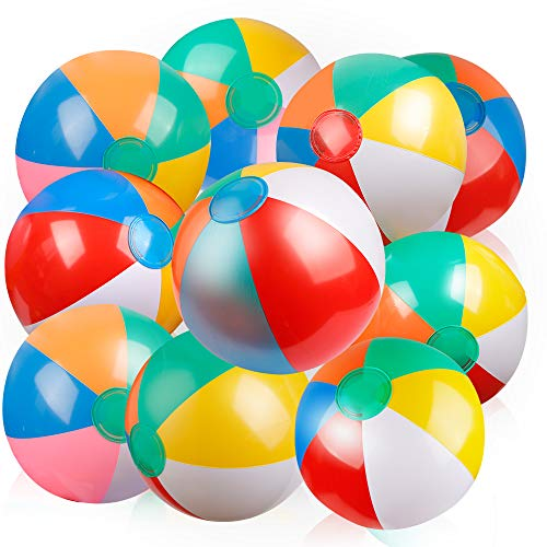 Coogam Inflatable Beach Ball Classic Rainbow Color Birthday Pool Party Favors Summer Water Toy Fun Play Beachball Game for Kid Boys Girls 8 to 12 Inches from Inflated to Deflated (10 PCS) -