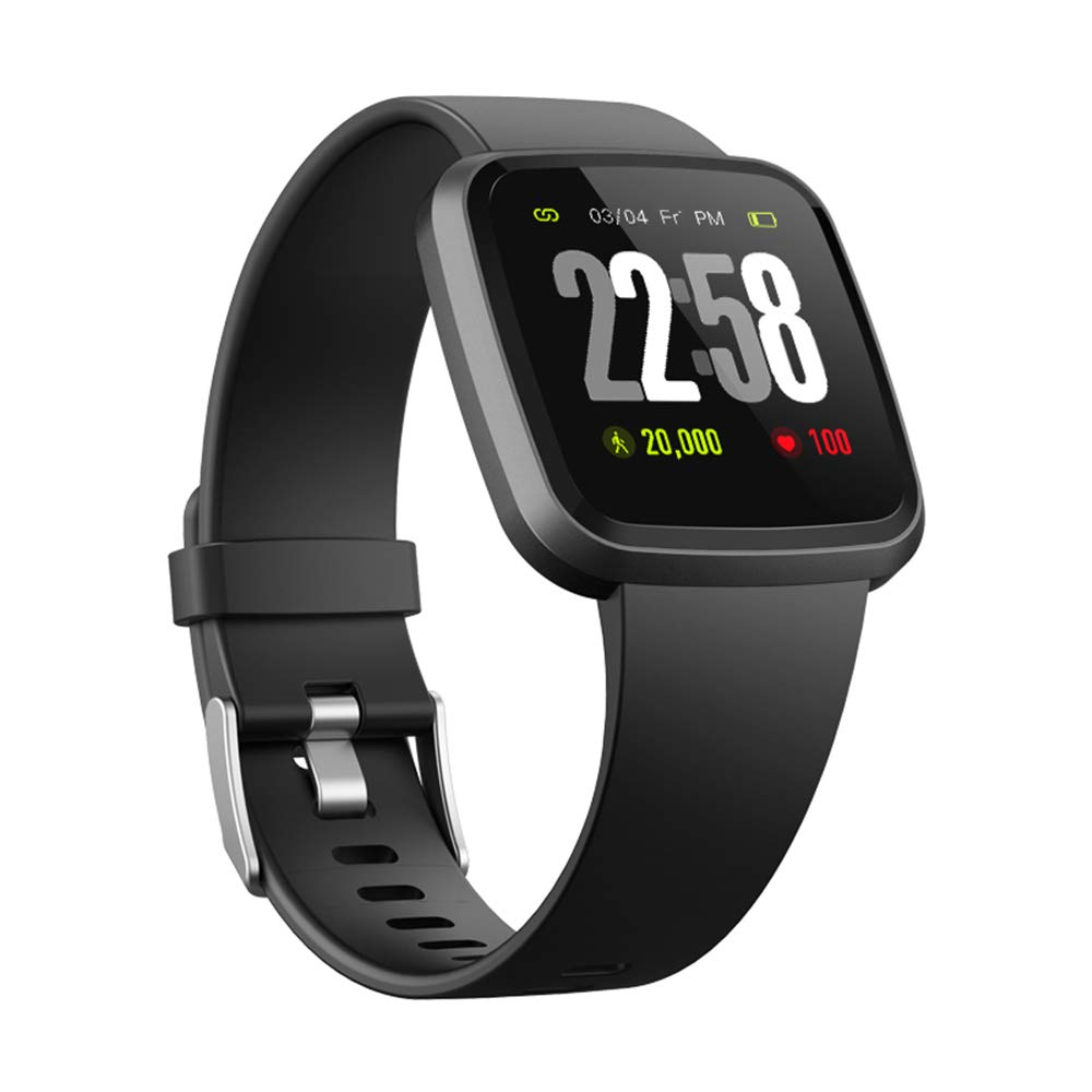 H4-V12 Smartwatch for Men& Women Color Screen IP67 Waterproof Heart Rate SpO2 Monitor Health Smart Watches / Sports Fitness Activity Tracker Running Watch Compare with Android & iOS phones (Black)