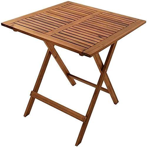 SAM Mesa de Madera Plegable, 62 x 62 cm, Ideal para jardín y balcón Acacia, marrón, Balkontisch 62x62 Camelia