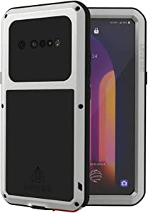 LOVE MEI LG V60 ThinQ Case with Tempered Glass Screen Protector Shockproof Scratch Proof Hybrid Metal and Silicone Gel Heavy Duty Armor Defender Tough Back Cover for V60 ThinQ / V60 (Sliver)