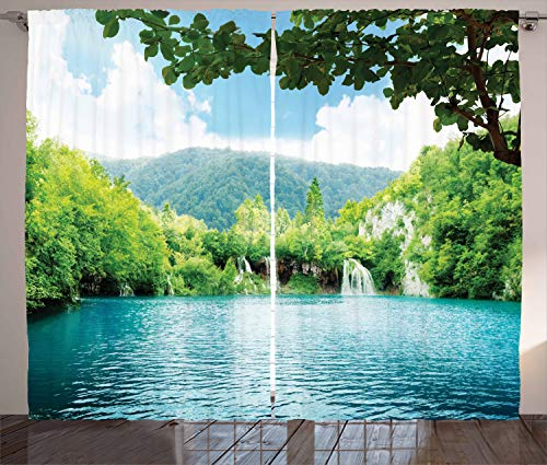 Ambesonne Rustic Curtains, Lake in Deep Forest Fed by Several Waterfalls in Summer Idyllic View Print, Living Room Bedroom Window Drapes 2 Panel Set, 108 X 90 Inches, Pale Blue and Green