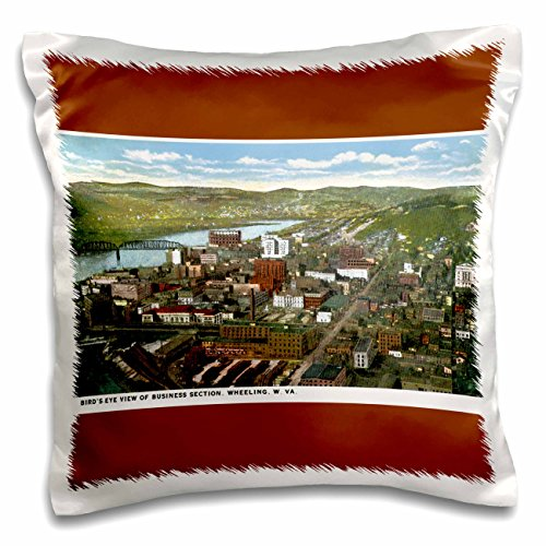 Postcard Birdseye View (3dRose BLN Vintage US Cities and States Postcards - Birds Eye View of Business Section, Wheeling, West Virginia - 16x16 inch Pillow Case (pc_170771_1))