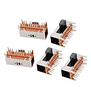 uxcell 5 Pcs 4 Position Right Angle 20 Terminal Micro Slide Switch Latching Toggle Switch