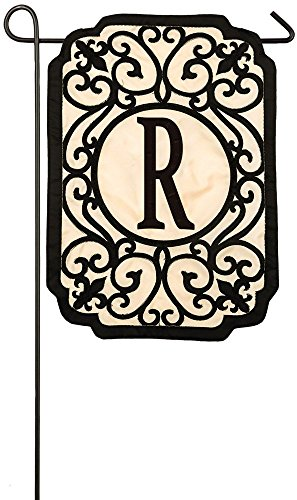 Evergreen Filigree Monogram R Applique Garden Flag, 12.5 x 18 inches