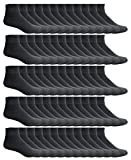 Yacht & Smith Kids Ankle Wholesale Bulk Pack Athletic Sports Socks, by SOCKS'NBULK (Kids 4-6 (Shoe size 7-10), 180 Pairs Black)