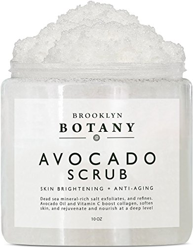Avocado Body Scrub 10 oz - Exfoliating Scrub for Skin Brightening, Anti Aging and Dark Spots - Infused with Vitamin C - Brooklyn Botany