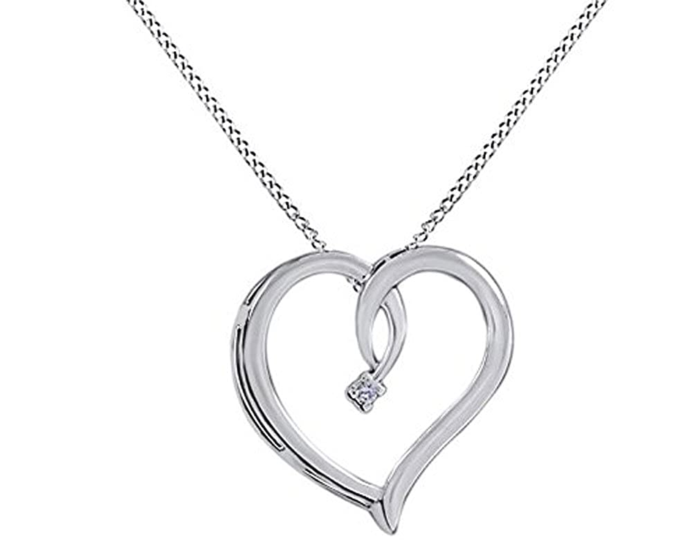 0.02 Ct AFFY Round Cut White Natural Diamond Heart Pendant Necklace in 14K Gold Over Sterling Silver