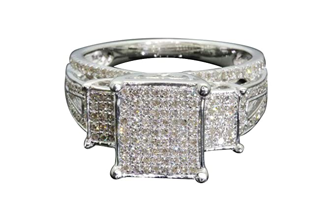 Amazon.com: Anillo de matrimonio de plata de ley con ...