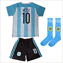 33e39274d 2015 2016 Argentina Kids  10 MESSI Soccer Jersey   Shorts Youth Sizes (XS (  Ages 2-3)) Misc.