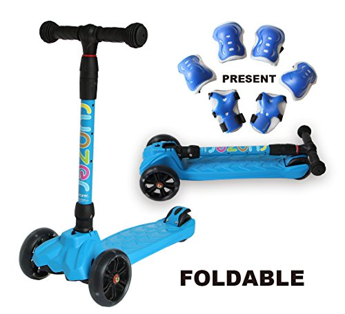 (Easy_Way 3 Wheels Kick Scooter for Kids Boys Girls Beginners with Colorful Flashing Wheels Adjustable Height Folding Scooter for Kids Light Up Scooter Birthday Gift Toys for Kids Boys 3-12 Year Old)