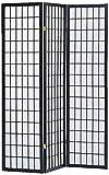 Milton Greens Stars 7034BK 3-Panel Sam Room Divider, Black