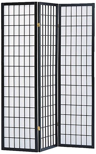 Milton Greens Stars 7034BK 3-Panel Sam Room Divider, Black 3 Panel Black Room Divider