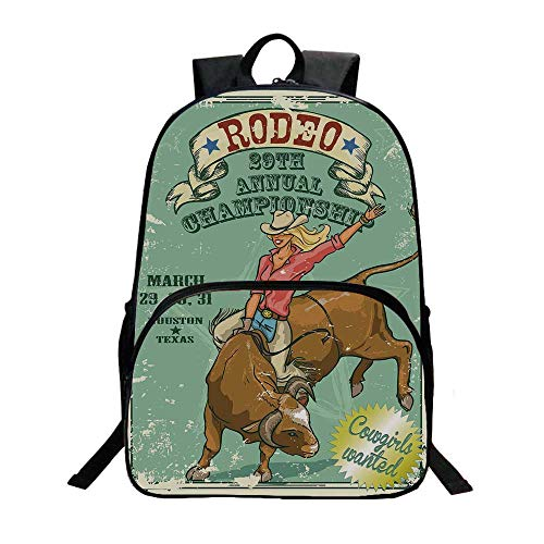 Retro Fashionable Backpack,Rodeo Cowgirl on the Bull Annual Championship Vintage Poster Pattern Grunge Design for Boys,11.8