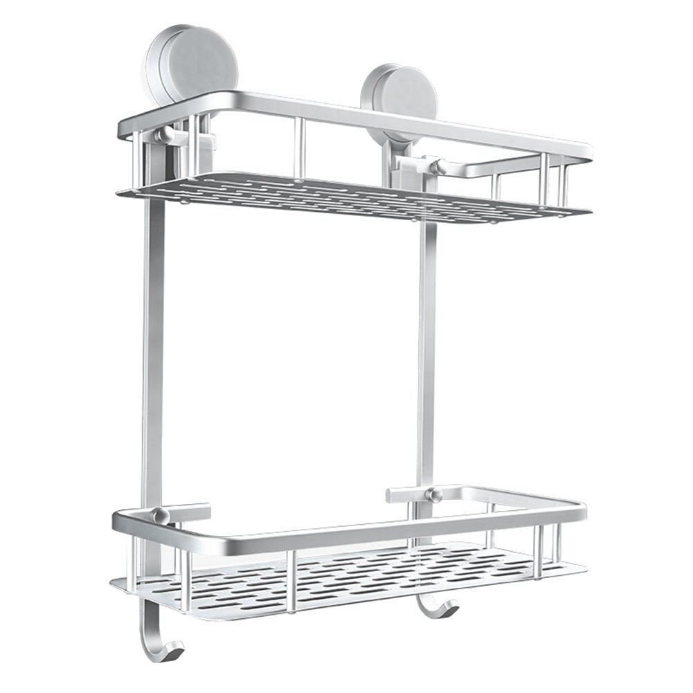 Bathroom shelf, metal suction cup storage shelf, wall-mounted shower holder, punch-free square/triangle/single layer/double layer