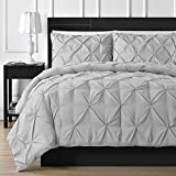 King or California King Size Comfy Living Soft Luxurious 3-Piece Pinch Pleated Pintuck Decorative Quilt Duvet Cover Set Egyptian Cotton 800 Thread Count Comforter Cover(California King/King (3 Piece),Silver Grey)