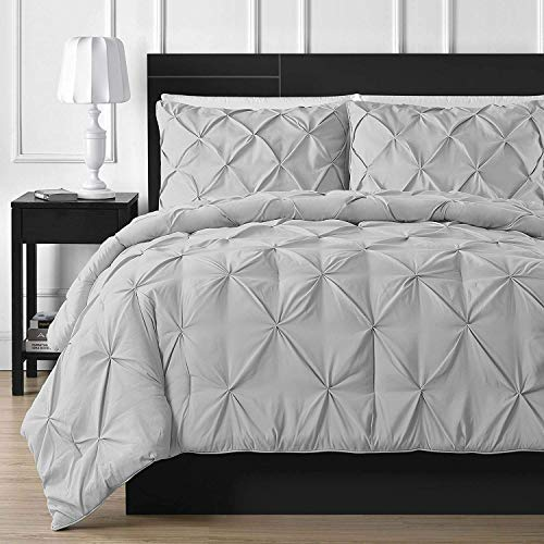 "Luxuriate Hotel 1000-TC Hypoallergenic Ultra Soft 100% Egyptian Cotton 98x120"" inch Over Size Super King Silver Solid Pinch Plated Duvet Cover With Zipper Colser & 2pcs Pillow Case Set"