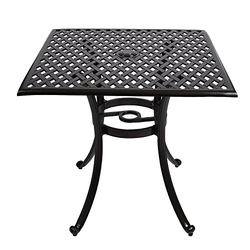Cast Aluminum Bistro Dining Table Square, Outdoor Cast Aluminum Patio Furniture Sets for Bistro Garden Bronze (Patio Aluminum Square Furniture Cast)