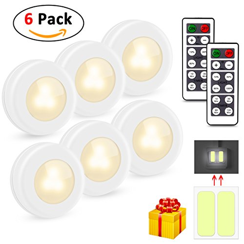 Puck Lights, UBRU Updated Wireless LED Puck Lights 6 PACK Closet Light Kitchen Under Cabinet Lighting with Remote Control Dimmable Closet Lights 4000K Natural White for Bathroom Kitchen Aisle Corridor