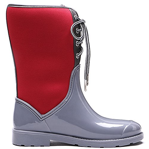 Lace Mid Calf Crimson TONGPU Women's Gray Rain Up Boots Comfortable qvwET7